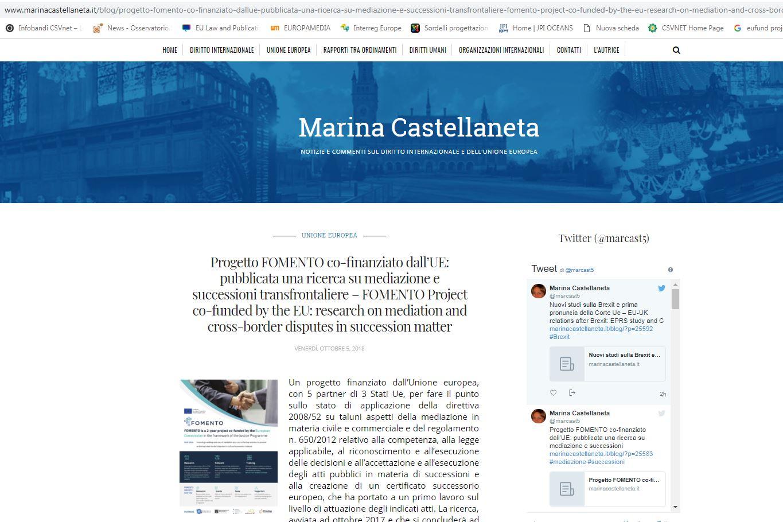 www.marinacastellaneta.it - Progetto FOMENTO co-finanziato dall'UE: pubblicata una ricerca su mediazione e successioni transfrontaliere