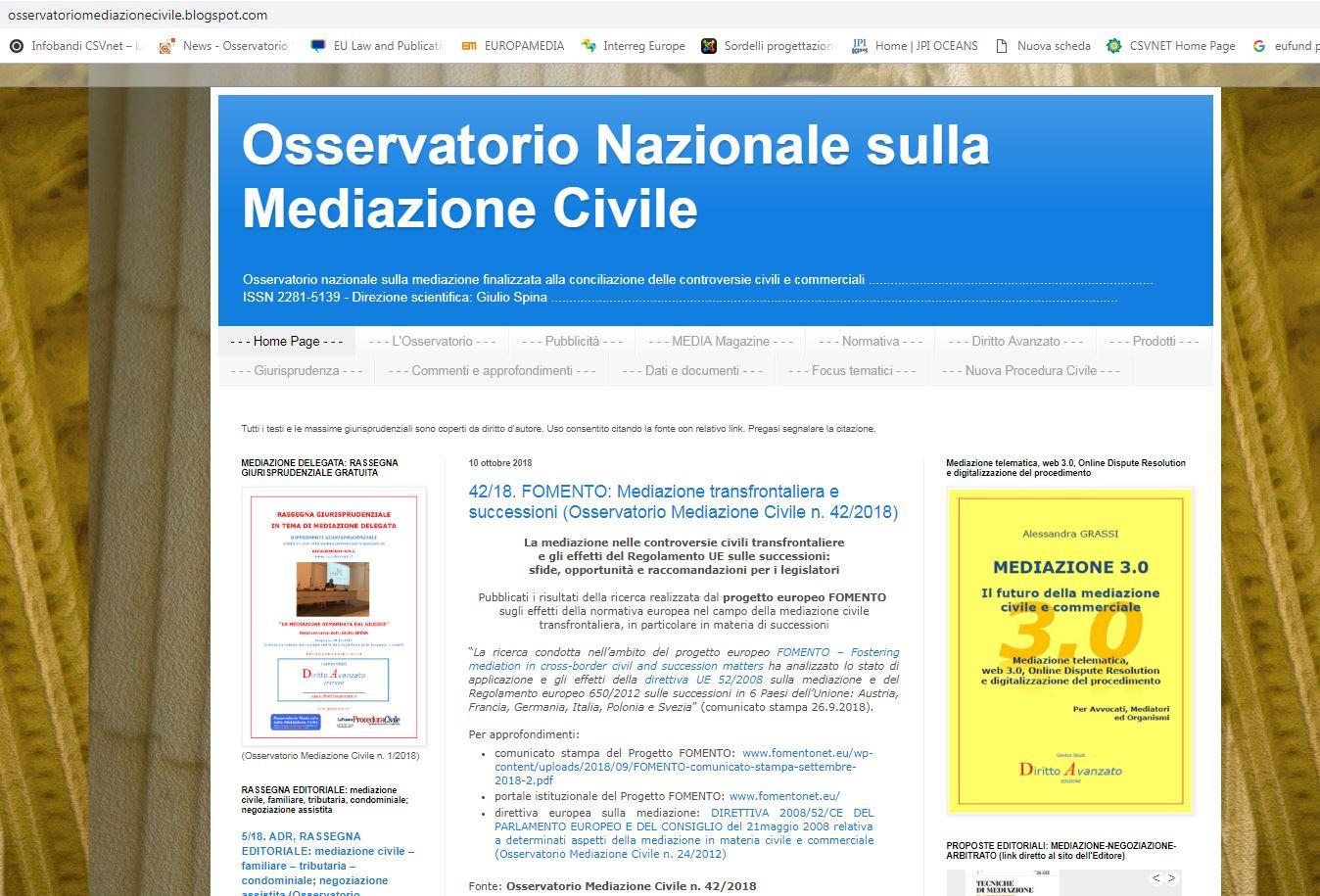 Osservatorio Nazionale sulla Mediazione Civile: pubblicati i risultati della ricerca realizzata dal progetto europeo FOMENTO